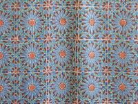 Moroccan bedspread, Tile print, Blue stars | Saffron Marigold