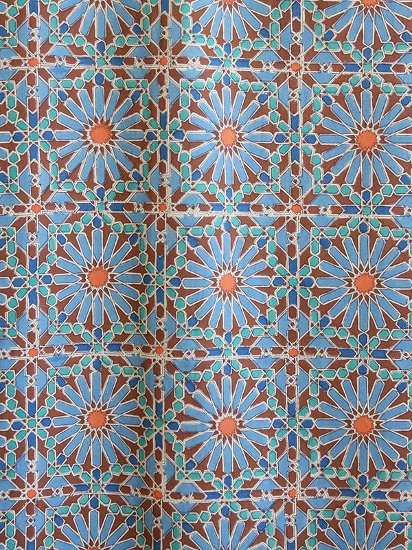 Moroccan Tile Print Fabric Swatch Blue Geometric Fabric Swatch Yard Long Swatches Saffron