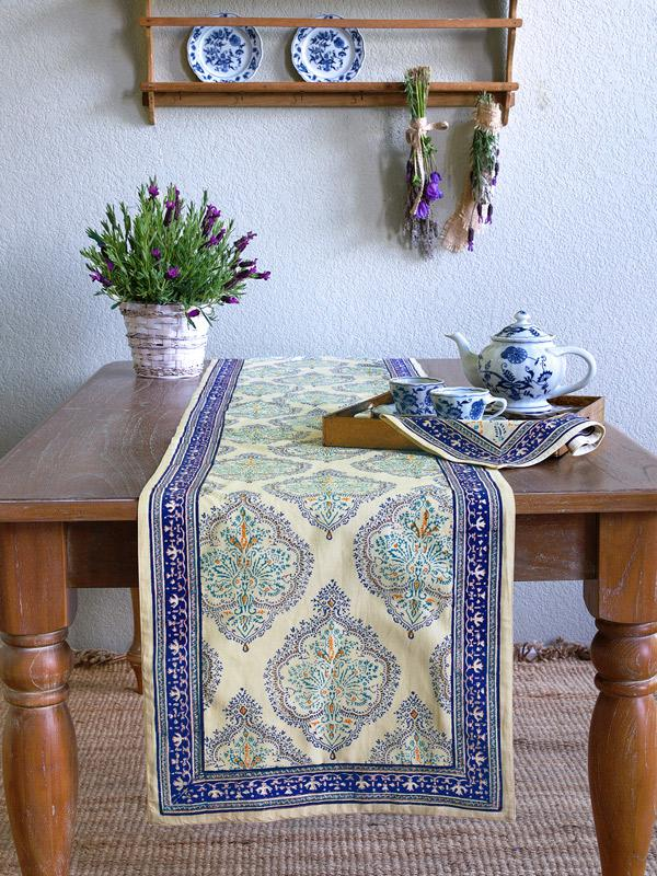 Blue table runner Yellow table runner Dining room table runner  Saffron Marigold