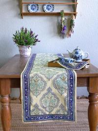 Blue table runner, Yellow table runner, Dining room table ...