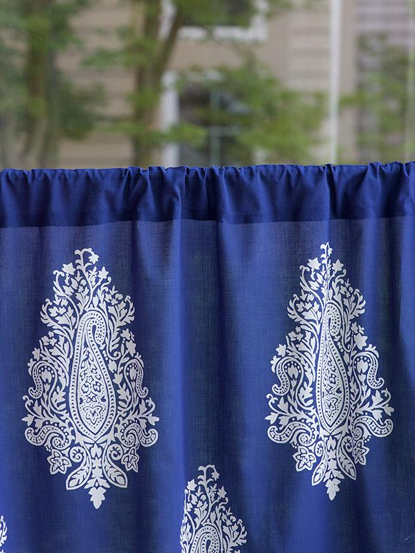 Navy blue kitchen cafe curtain White paisley  Saffron