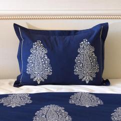 White Round Kitchen Table Virtual Remodel Navy Blue Pillow Sham, Paisley Sham Cover, Co ...