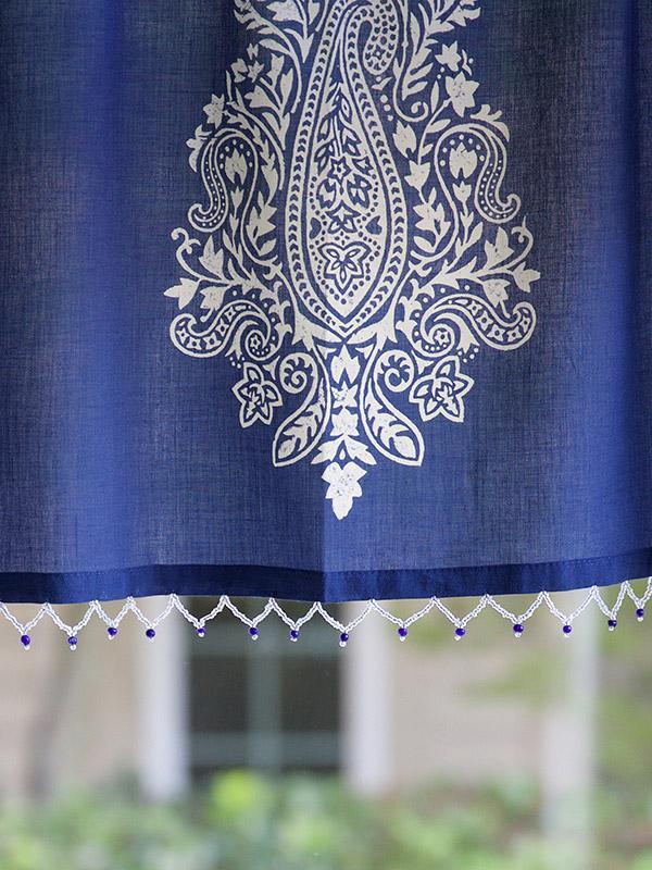 Navy blue beaded window valance White paisley window