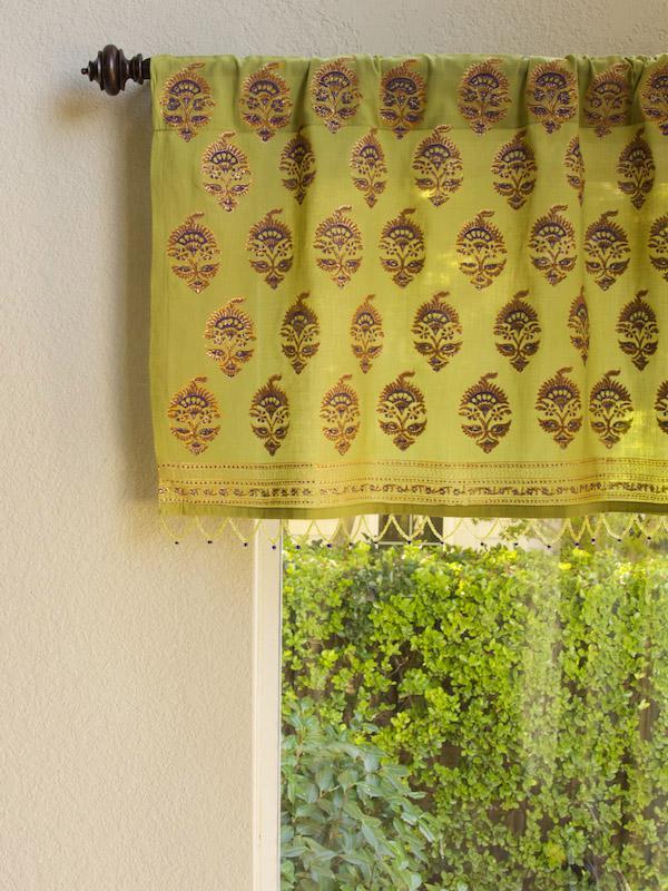 Memories of Shalimar  Asian Green Beaded Window Valance