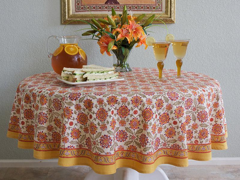 Mediterranean Round Tablecloth Orange and yellow Round Tablecloth  Round Tablecloth  Saffron