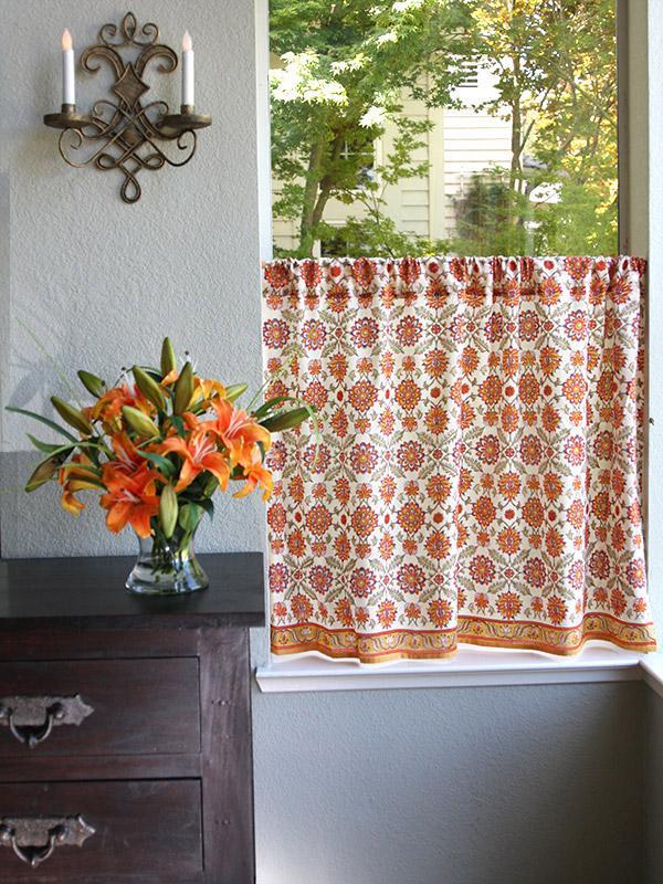 Orange kitchen curtain Mediterranean Floral  Saffron Marigold