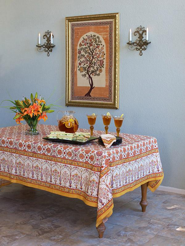 Orange floral Tablecloth Persian Tablecloth  vintage