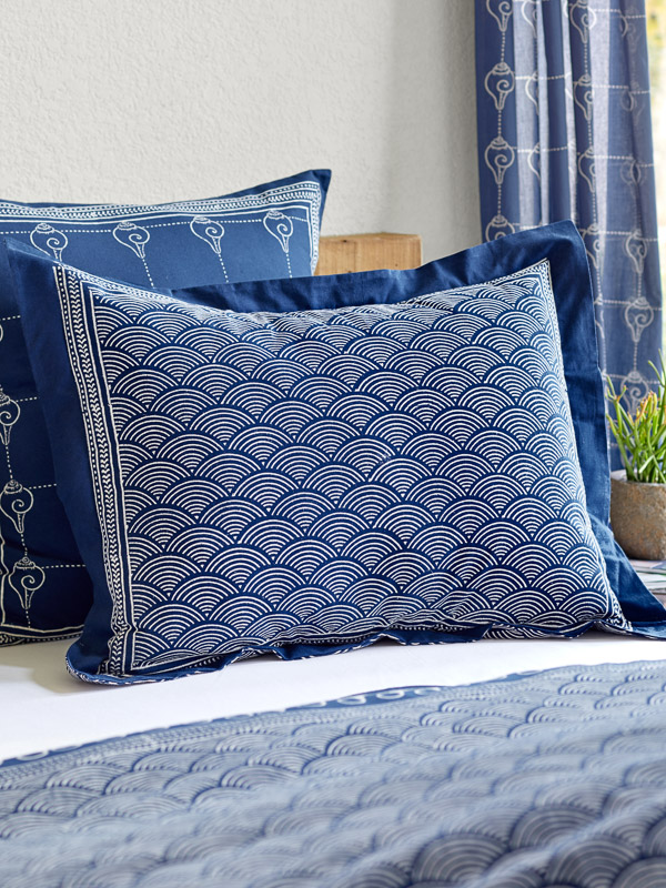 navy and white pillow shams online