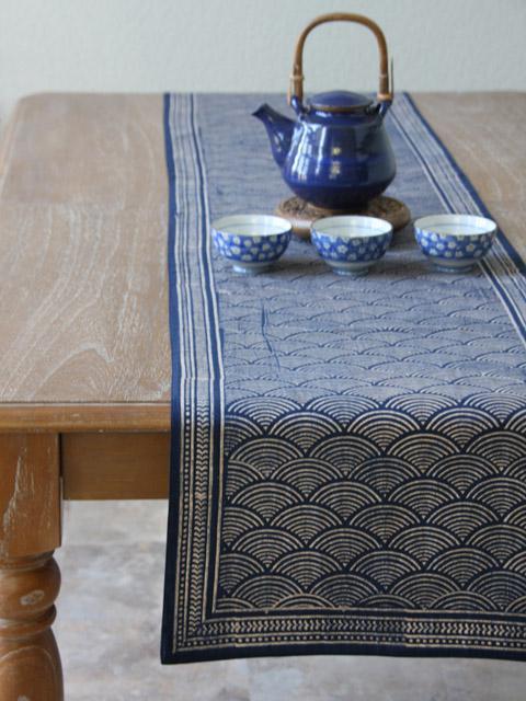 Rustic Navy Blue Table runner Asian Insipired table runner Oriental table runner Cotton Table