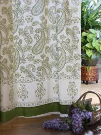 Paisley curtain panel, Cream