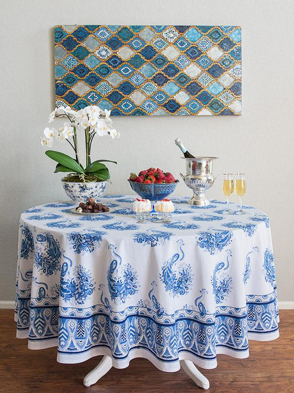 Moroccan Round Tablecloth Blue and White Round Tablecloth