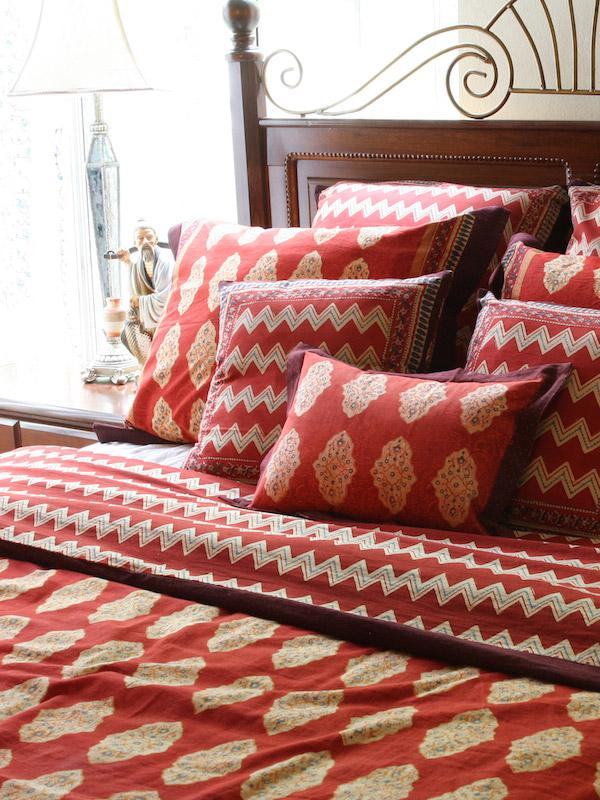 Red Bedding Curtains and Table linen Moroccan Bedding