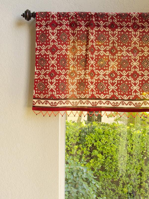 Rustic Red Sheer Fabric Beaded Window Valance Kitchen Bathroom  Saffron Marigold