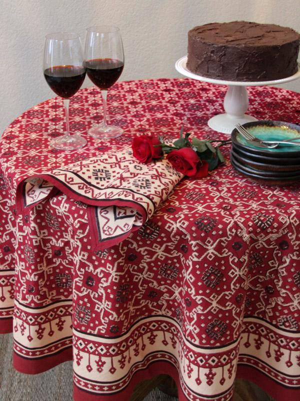 kitchen cart table european gadgets red tablecloth, holiday decorative tablecloth ...