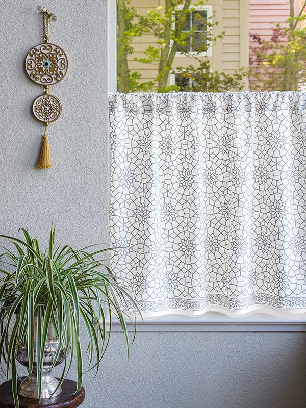 White caf curtain Moroccan Gray trellis  Saffron Marigold