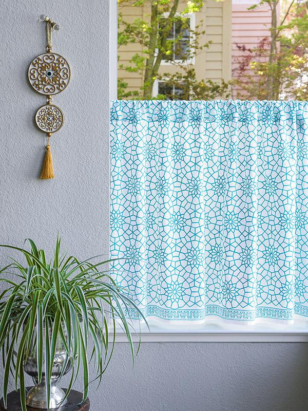 Turquoise White Kitchen curtains Geometric cafe curtain