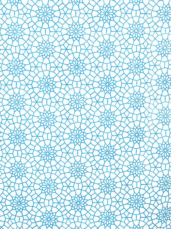 Turquoise Blue and white fabric swatch Moroccan  Saffron