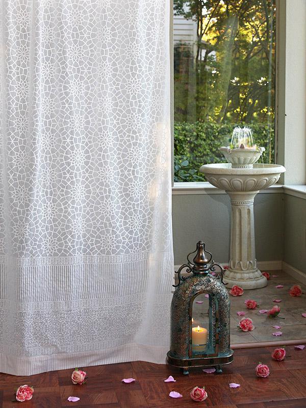 White curtain panel Moroccan Trellis  Saffron Marigold