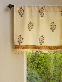 India Red Floral Sheer Beaded Window Valance Kitchen ...