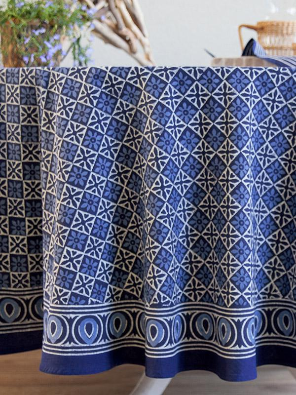 Blue tablecloth Batik tablecloth India tablecloth 90 Round Tablecloth 70 Round Tablecloths