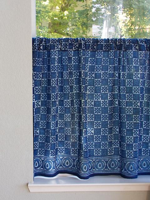 Indigo Blue Kitchen cafe curtain Batik Kitchen tier