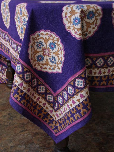 Blue Tablecloth Moroccan Tablecloth Vintage Tablecloth Cotton Tablecloth