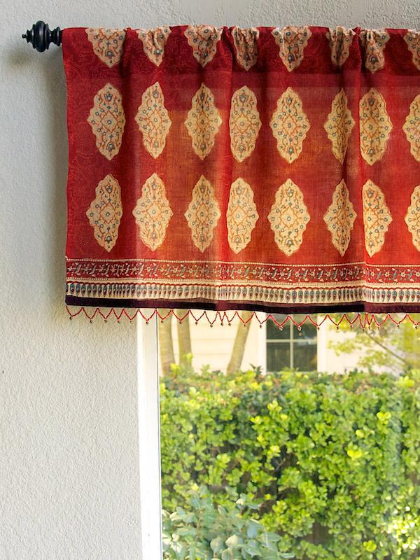 kitchen window treatment narrow countertops red orange valance, moroccan indian beaded valance ...