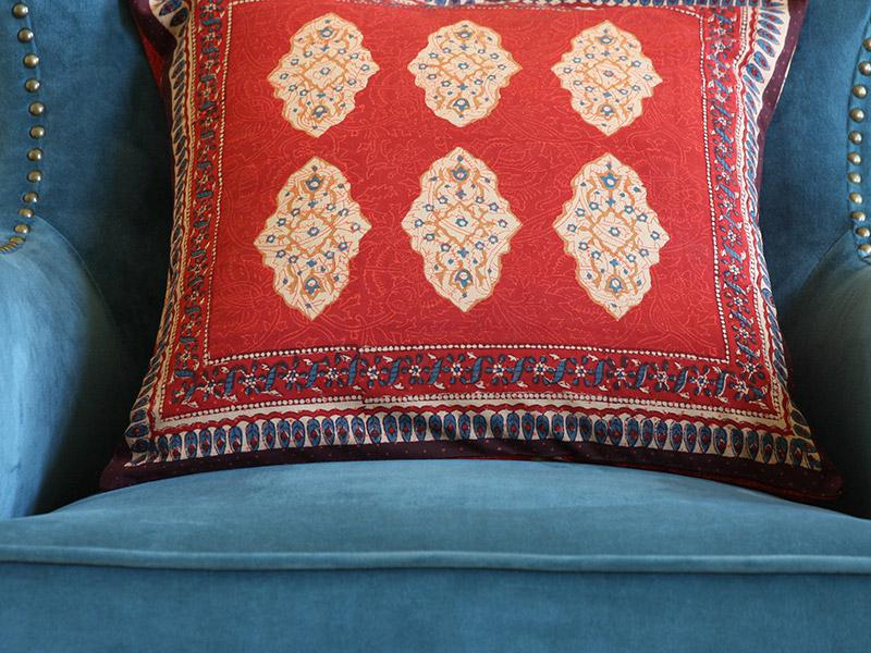 Moroccan print throw cushion cover India cushion covers 18in Red orange throw slipcover
