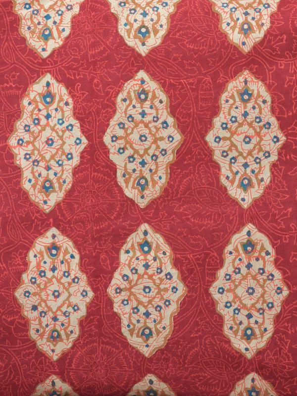 Red orange fabric sample Moroccan print fabric swatch