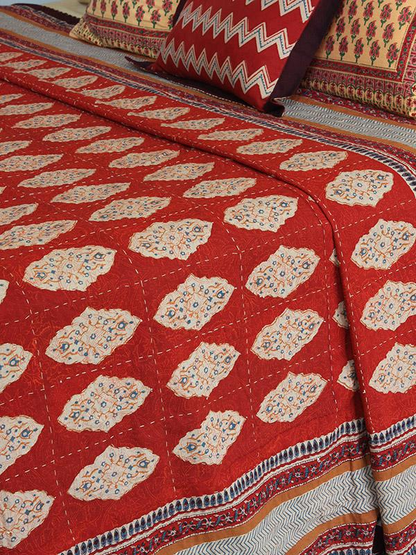 Red orange hand quilted coverlet Moroccan coverlet India