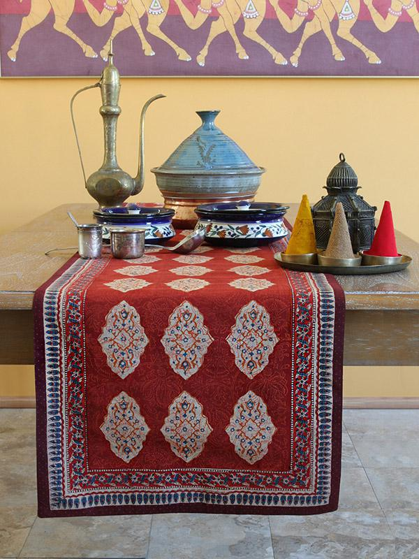 Red orange table runner Moroccan Indian table runner