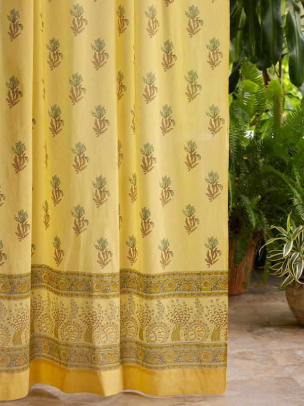 Yellow Curtain Floral Curtain Summer Curtain Beach Curtain Cotton Curtain Panel  Saffron