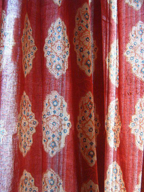 Red orange sheer curtain panel Moroccan Indian sheer