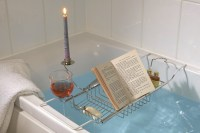 Bath Caddy with Wine Glass, Candle & Book Holder