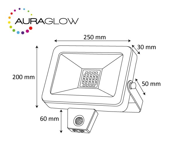 Auraglow 50w LED Motion Activated PIR Sensor Security