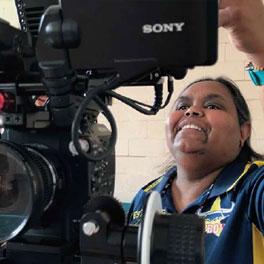 Marika Davies at the Port Augusta Film Development Workshop, photo by Carl Kuddell © Change Media 2019