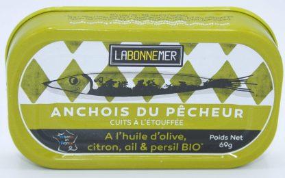 Anchois à huile d'olive, citron, ail & persil BIO 69g