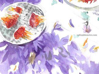 La fleur de safran, artiste dessin, no. 4 sujet: rouge et violet du safran