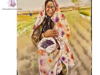 La fleur de safran, artiste dessin no. 6, sujet: une Une agricultrice