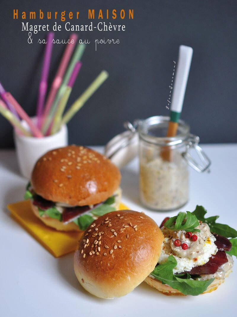 hamburger maison magret de canard ch vre sauce au poivre. Black Bedroom Furniture Sets. Home Design Ideas
