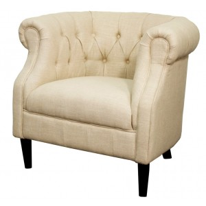 Luna Linen Tufted Tub Chair  Sagamore Bay