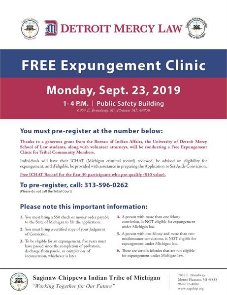 FREE Expungement Clinic - Saginaw Chippewa Indian Tribe