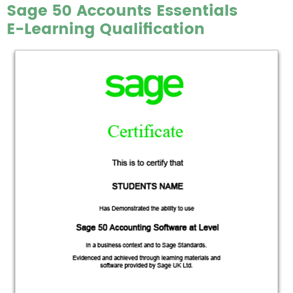 Sage 50 Accounts Essentials Certificate example
