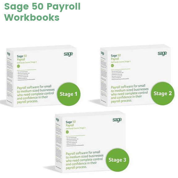 Sage 50 Payroll Workbooks box images for stages 1, 2 and 3