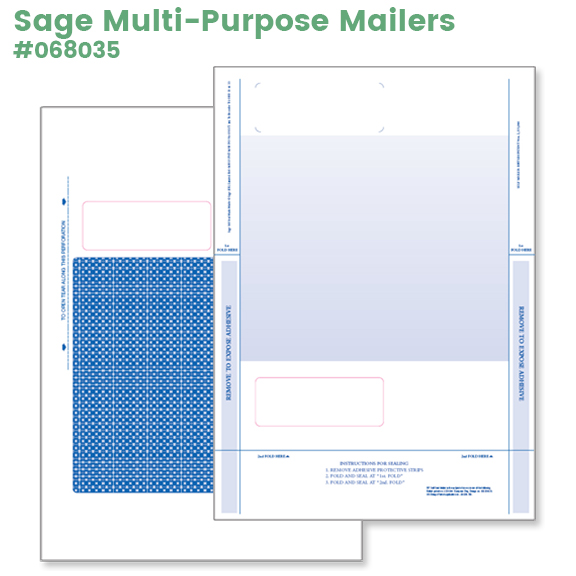 Sage Multi-Purpose Mailers for invoice, statement, order, remittance