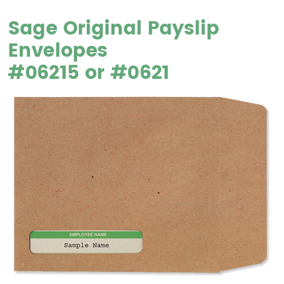 Sage Original Payslip envelopes with employee name window