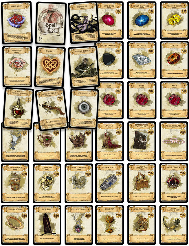 image regarding Printable 5e Spell Cards identified as DD Playing cards Tools, Treasure, Scenario, Determination and