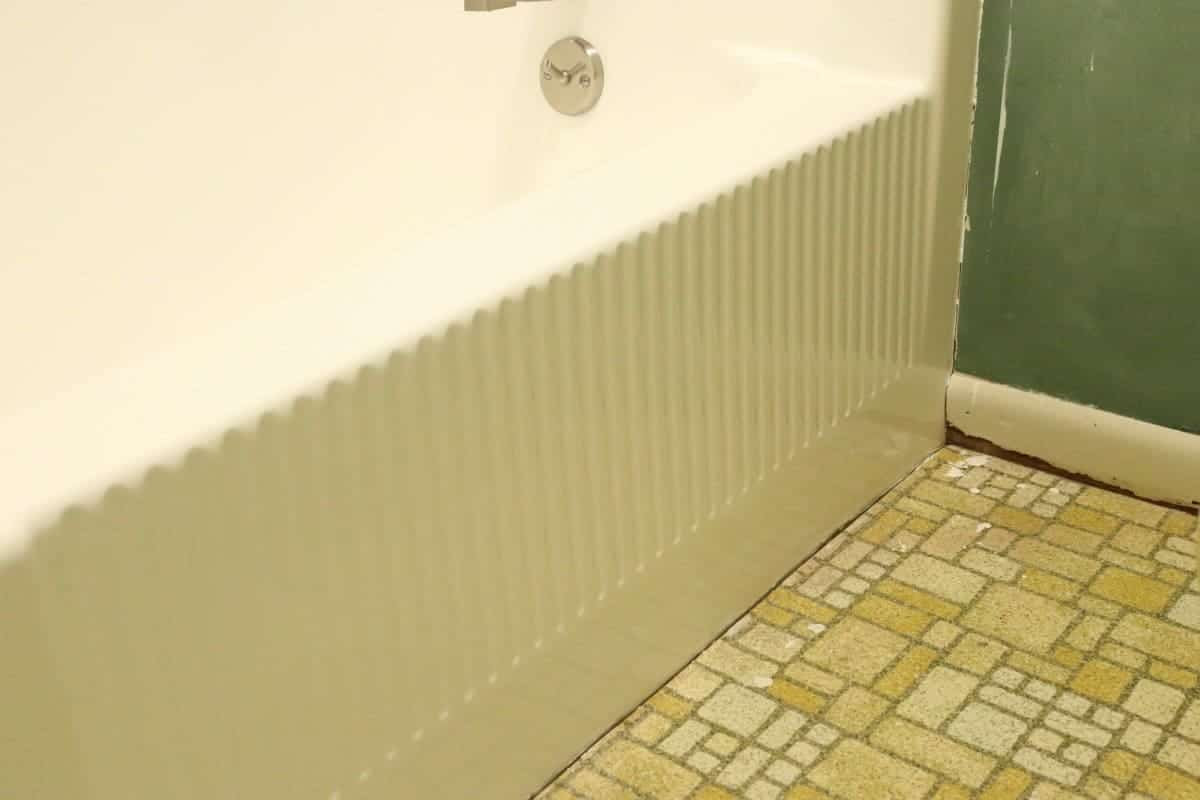 Front of white DIY refinished bathtub
