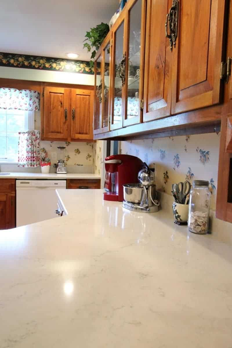New white quartz countertop in mini kitchen remodel