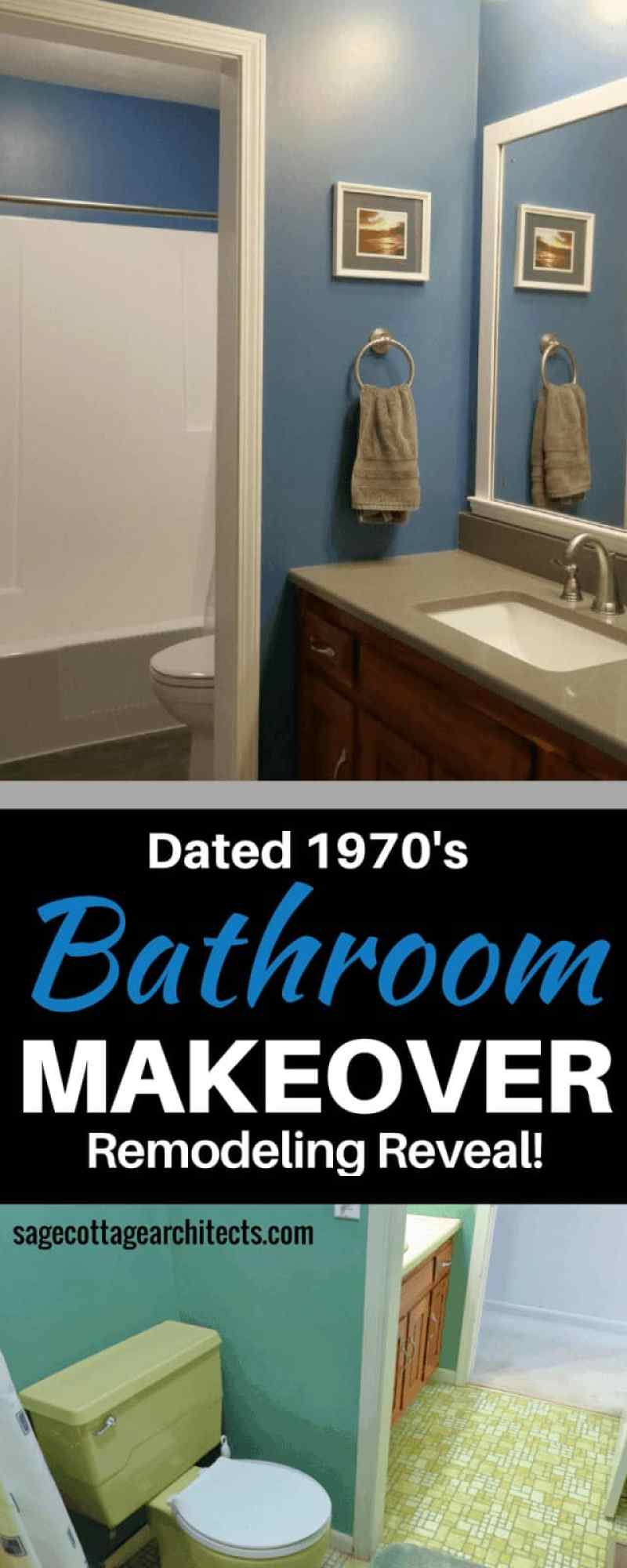 Photo collage - 1970's yellow bathroom remodel transformed into modern, dark blue and grey bathroom